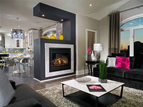 fireplace room floating fireplace basement contemporary with blue