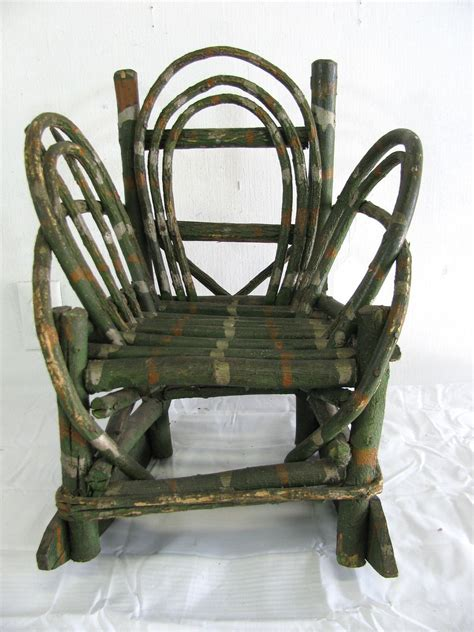 Vintage Child Rocking Chair by Vintage Folk Painted Child S Twig Rocking Chair From