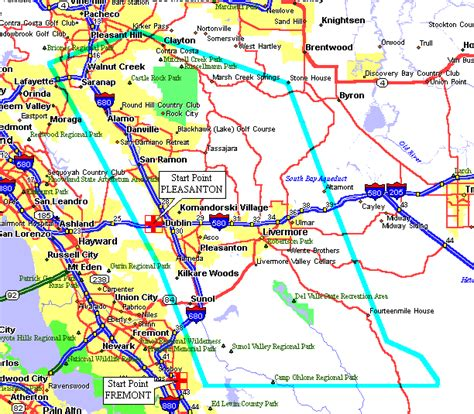 pleasanton california map start points