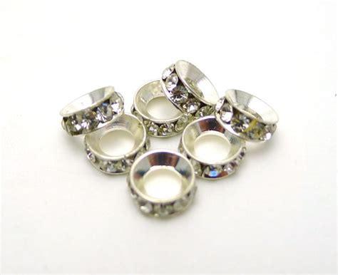 Large Hole Rhinestone Crystal Spacers, 7mm (10)
