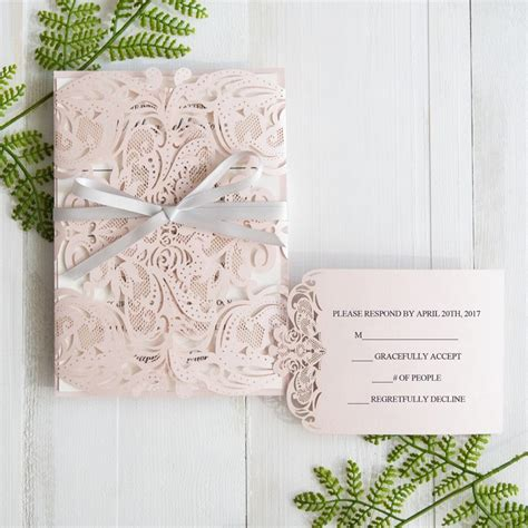 grey and pink wedding invitation cards blush pink laser cut wedding invitation with gray
