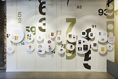 typography exhibition idea wall of numbers various sizes of cards with various