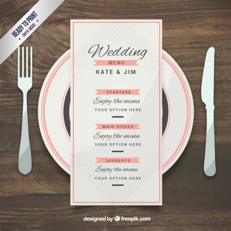 wedding phlet template wedding menu template in style vector free