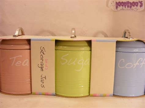 set 3 pink cup cake coffee sugar tea kitchen storage jars bnib set of 3 pink lime green blue kitchen canisters