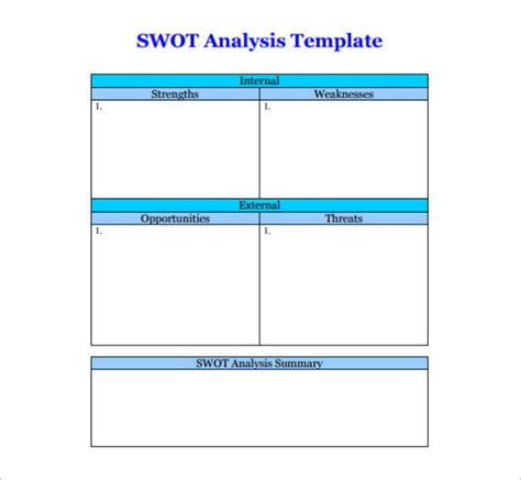 free swot analysis template word pdf calendar template