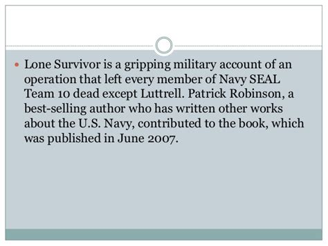 lone survivor book report a brief summary of one of my favorite books lone survivor