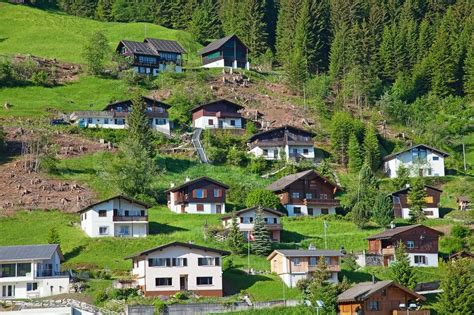 My House Plans by Mountain Village In Swiss Alps Stock Photo Colourbox