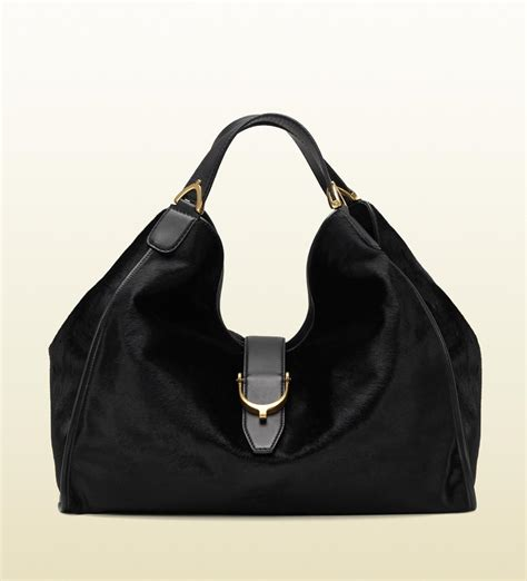 Gucci Bags by Gucci Soft Soft Stirrup Black Pony Shoulder Bag All