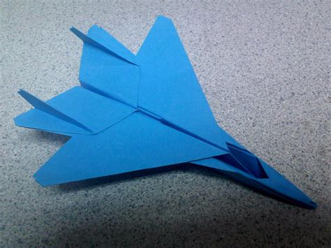 Origami Fighter Plane - blue origami f15 fighter jet by theorigamiarchitect on