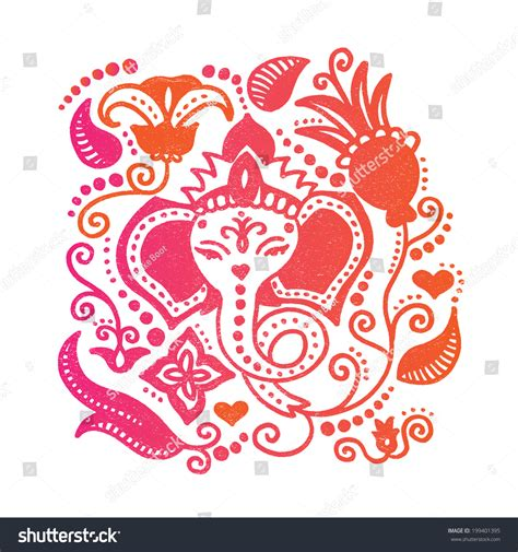 doodle god india lord ganesh indian god lotus flower stock vector 199401395