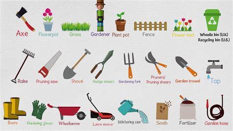 gardening tools names list  garden tools  english