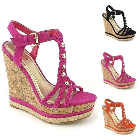 high heels wedges sandals summer fashion shoes suede cork style wedges platform high