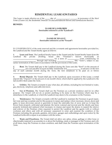 rental lease agreement ontario template ontario form residential lease agreement
