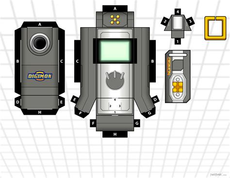 Digimon Digivice Papercraft - data link white and grey by randyfivesix on deviantart