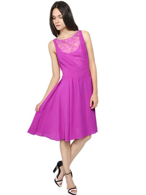 Tshirt V Entino Khan One Clothing lyst ricci silk crepe chiffon lace dress in pink
