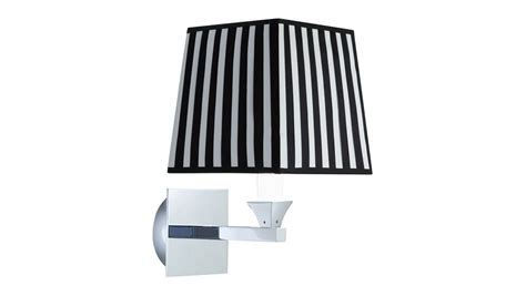 black square l shade astoria wall light with a square black and white fabric