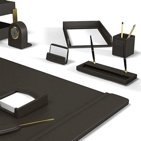 Office Desk Accessories by 3d Model Office Desk Set