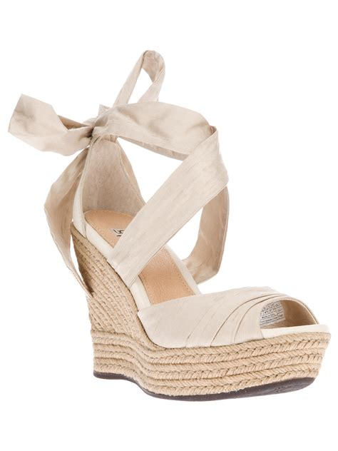 ugg wedge sandals ugg lucianna wedge sandal in metallic lyst