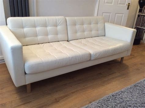 Ikea Landskrona 3 Seat White Leather Sofa White Leather Ikea White Leather Sofa