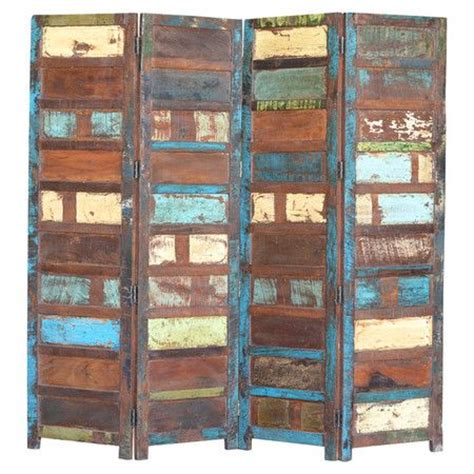 Reclaimed Wood Room Divider Add Definition To Larger Rooms Or Partition Smaller Spaces With This 4 Panel Room Divider