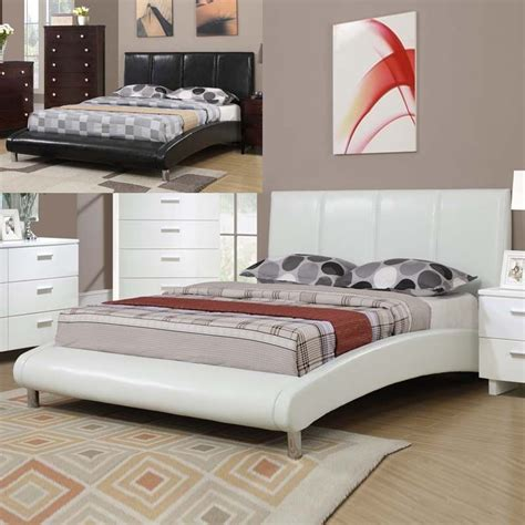White Leather Platform Bed - luxurious sleigh like design white black faux leather tufted full queen bed ebay