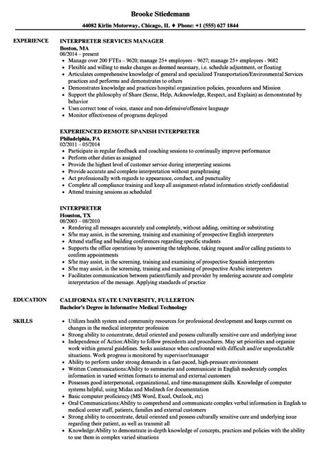 Interpreter Resume by Interpreter Resume Sles Velvet