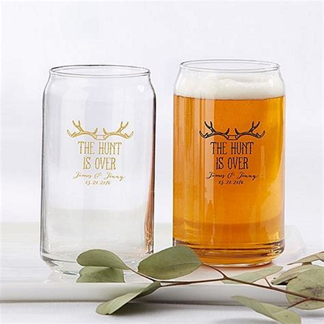 The Hunt Is Over Personalized 16 Oz. Beer Can Glass Favors