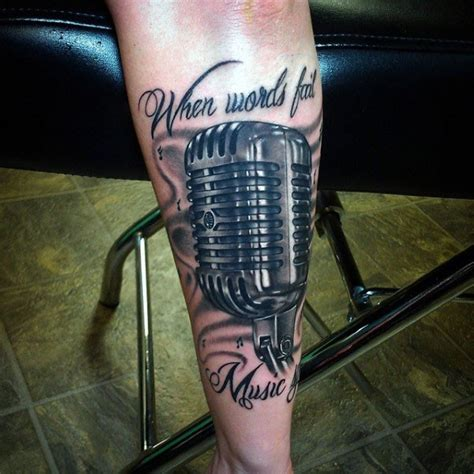 old fashioned microphone tattoo designs designed and detailed colored vintage microphone with