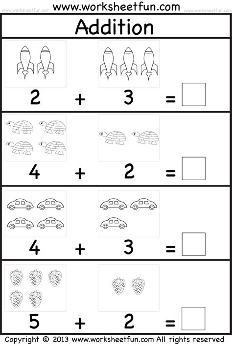 Kindergarten Free Printable Worksheets by Picture Addition Beginner Addition Kindergarten