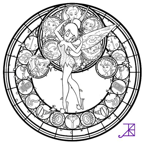 Disney Fairies Stained Glass Line Art By Akili Amethyst Stained Glass Disney Princess Free Coloring Sheets