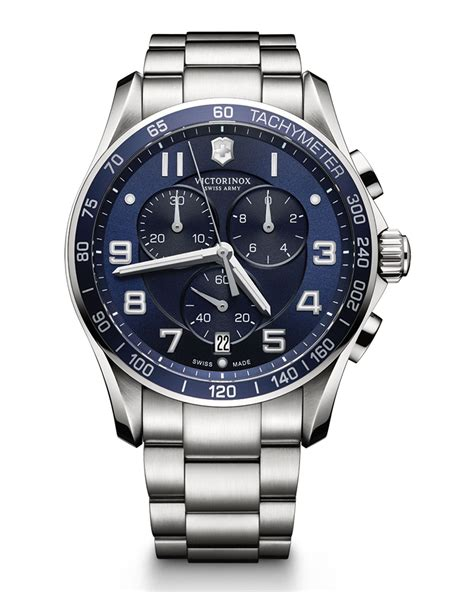 victorinox chrono classic xls stainless chronograph with blue in metallic for