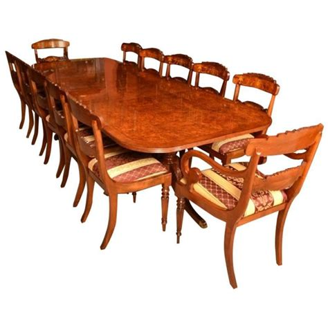 Regency Style Dining Table And Chairs Burr Walnut Regency Style Dining Table And 12 Chairs For Sale At 1stdibs