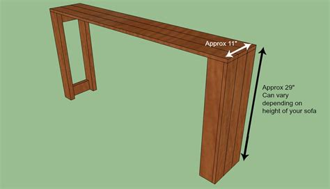 diy behind the couch table woodwork sofa table plans diy pdf plans
