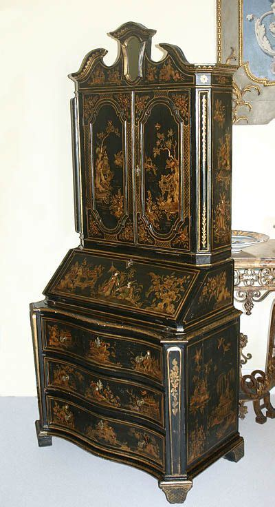 fine english george  style chinoiserie fall front secretary  black lacquer painted