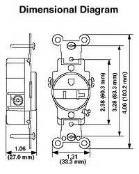 Leviton 5361-T 20 Amp-125 Volt Nema 5-20R. Back and side
