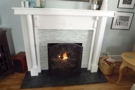soapstone hearth and gray tile fireplace