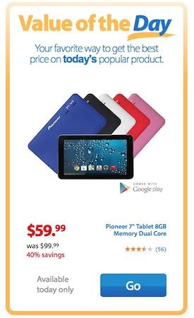 today only pioneer 7 quot tablet 8gb memory dual core w google play only 59 99 reg 99 99
