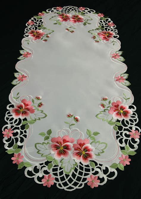 Pink White White Black Embroidery splendid pansy table runner doily tablecloth white with pink flower embroidery ebay