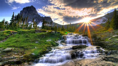 themes hd quality waterfall at sunrise wallpaper 670732