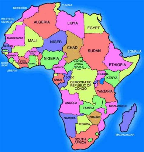 africa map labeled holidaymapq
