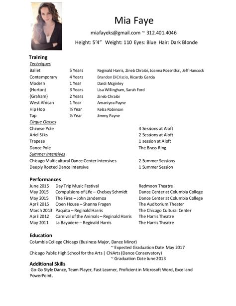 dancer resume template official resume