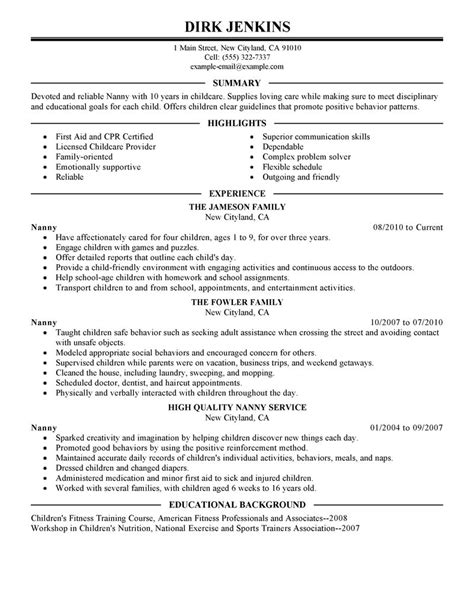 nanny resume tips 28 images nanny cv exle for personal services livecareer resume for child