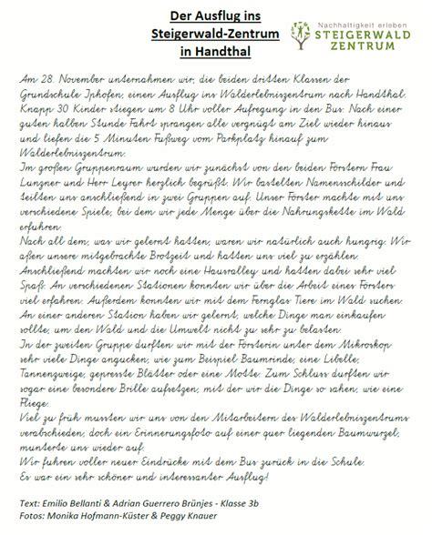 bericht schreiben beispiele bericht einer 3 klasse 252 ber ihren ausflug ins steigerwald zentrum steigerwald zentrum