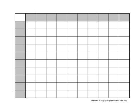 Printable Superbowl Squares World Of Printable And Chart Bowl Box Template