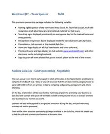 club sponsorship proposal templates 8 free word pdf