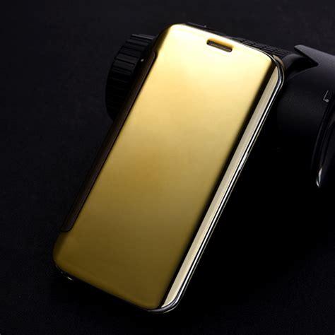 Gold Casing Samsung Galaxy S6 Edge Mirror Ultrathin Softcase ᑐfor samsung galaxy s6 edge luxury electroplating clear view mirror mirror flip