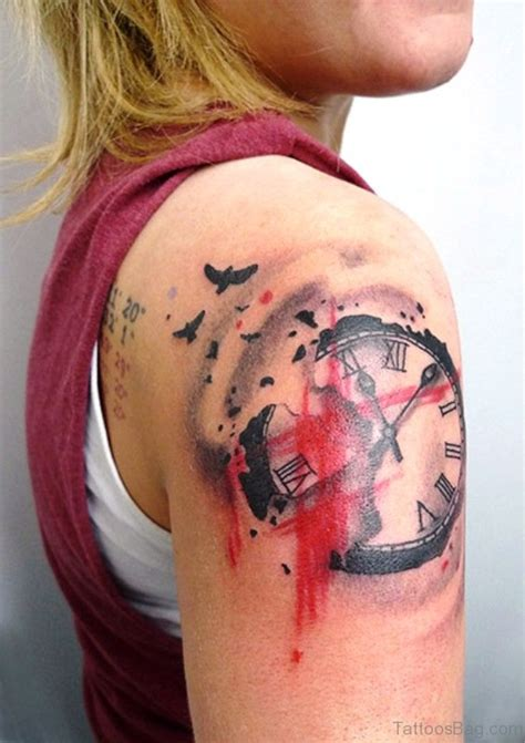 tattoo on right shoulder 65 perfect clock tattoos on shoulder