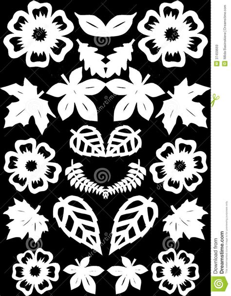 paper flower cutting pattern flowers and leafs pattern paper cutting royalty free