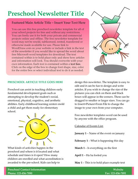 preschool newsletter templates best photos of sle school newsletter templates free