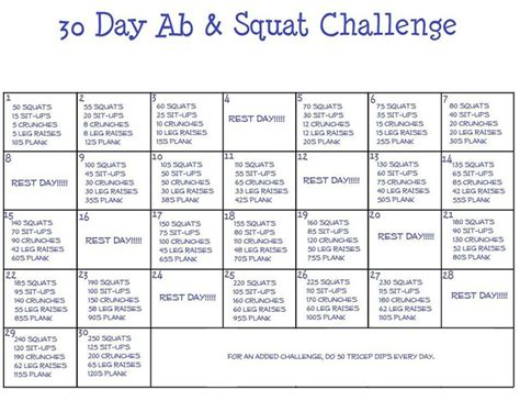 squat challenge and ab challenge 30 day ab squat challenge can t wait to start doing